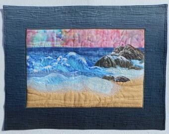 Sunrise Beach Seascape Sunset Rocky Shoreline Ocean Surf Art Quilt