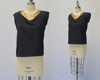 Vintage Hand Made Black Coin Blouse