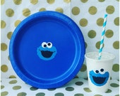 Set of 16 - Cookie Monster Party Cups or Cookie Monster Plates