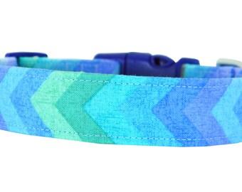Aqua Blue and Mint Green Dog Collar; Chevron Dog Collar: Chevron Breeze