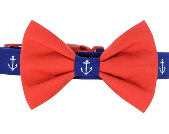Navy Anchor Bow Tie Dog Collar; Red, White and Blue Dog Bow Tie and Collar: Anchors Away