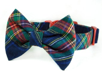 Navy and Red Plaid Dog Collar and Bow Tie/ Winter Flannel Bow Tie Dog Collar: Ivy League Flannel