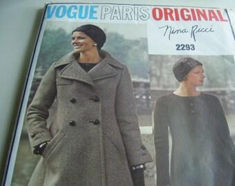 Vintage 1970's Vogue 2293 Paris Original Nina Ricci Coat and Dress Sewing Pattern, Size 10, Bust 32 1/2