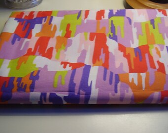 Vintage 1960's, 70's Abstract Bright Puzzle Shape Pattern Fabric, 2 yards