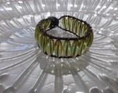 Green Glass Dark Brown Leather Bracelet