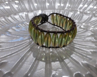 Green Glass Dark Brown Leather Bracelet