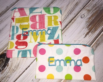Set of 2 Letter Print (Optional Personalization) Reusable Sandwich and Snack Bags with Zipper Closure
