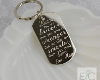 you are braver than  you believe engraved stainless steel key chain | personalized dog tag keychain