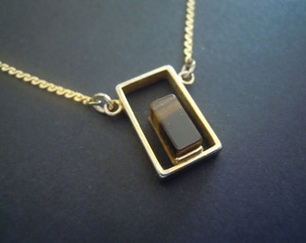 Tiger's Eye Gold Geometric Rectangle Sarah Coventry Necklace Vintage