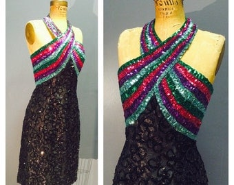 MIKE BENET Formals VLV Vintage 1960's Black Lace Halter Cocktail Party Sequined Dress w Rainbow Striped Boned Bust- Purple, Aqua, Green Xs S