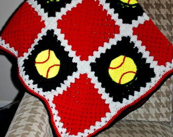 Softball Strikes Crochet Afghan Pattern