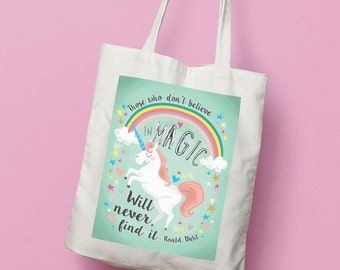 Roald Dahl 'Magic' Quote Tote Bag