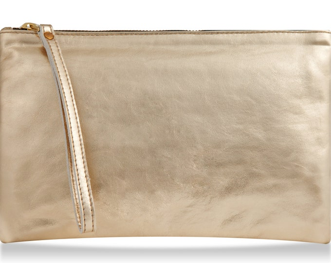 Gold wristlet wallet, women leather purse, gold leather wallet bag