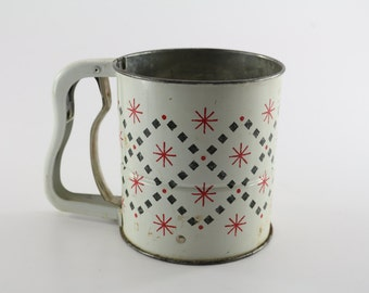 Vintage Flour Sifter Rustic Kitchen Farmhouse Chic Red White Black