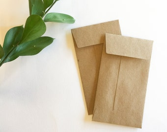 Kraft Envelopes - set of 25 envelopes - kraft coin envelopes - kraft seed envelopes - #5 coin envelopes measuring 3 1/8 by 5 1/2 inches