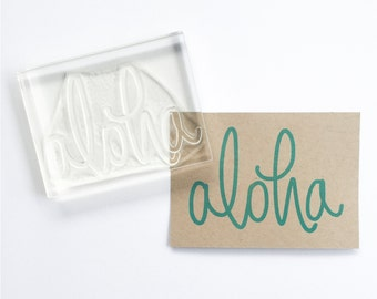 Aloha Rubber Stamp - Big Aloha hand lettered rubber stamp - aloha stamp - hello stamp - calligraphy rubber stamp - Ready to Ship