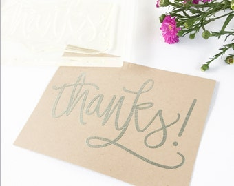 Thanks Rubber Stamp - Big thanks hand lettered clear stamp - thanks stamp - thank you stamp - calligraphy stamp - Ready to Ship K0058