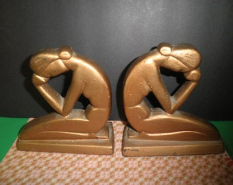 Weeping Nude Deco Lady Bookends Stylized Heavy Metal 1930's Vintage Gold