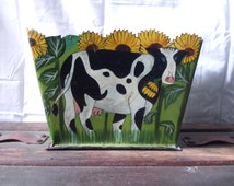 Vintage Folk Art Cows and Sunflowers Metal Planter Hand Painted cut outs