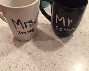Personalized and Matching Mr. & Mrs Mugs