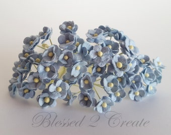 10 Itty Bitty Blue Sweetheart Blossom Mulberry Paper Flowers