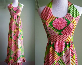 1960's Hippie Halter Dress - 60's Maxi Dress - Neon Psychedelic Dress - Small