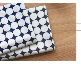 Big Dots Cotton Fabric, Large Dots - Navy or Gray - By the Yard 90410