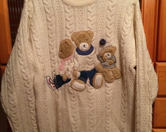 Vintage 1980s TOGETHER Ribbed Cable Knit Embroidered Teddies Wool Sweater (Size Medium)