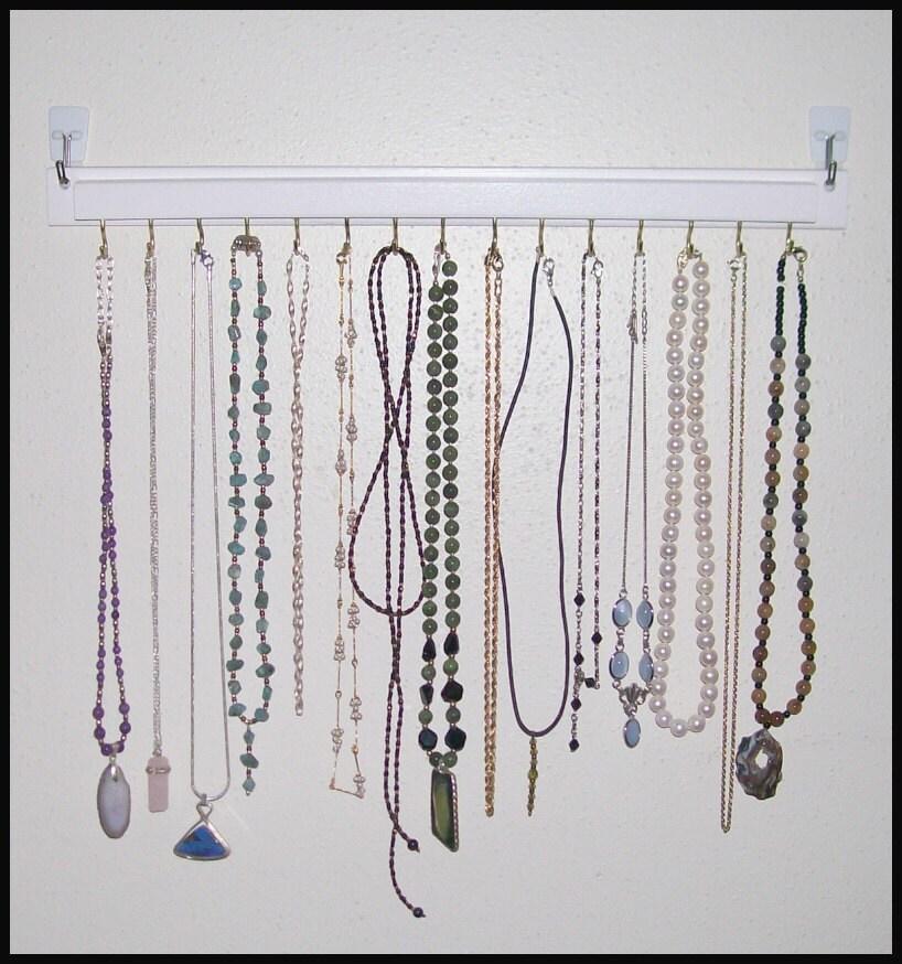 white necklace holder hanger organizer wall mounted