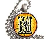 "Letter ""M"" Art Pendant, Alphabet Resin Pendant, Vintage Initial  Photo, Silver Nickel Coin Charm Necklace"