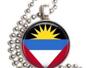 Antigua & Barbuda Flag Art Pendant, Earrings and/or Keychain, Round Photo Silver and Resin Charm Jewelry, Flag Earrings, Flag Key Fob