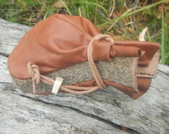 Tinder Bushcraft Pouch In Kangaroo Tail Fur And Hide(Reserved of Zen)