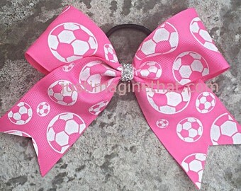 "2.25"" x 6"" x 6"" Soccer Sports Cheer Bow Pink with Glittered White Soccerballs Bow"