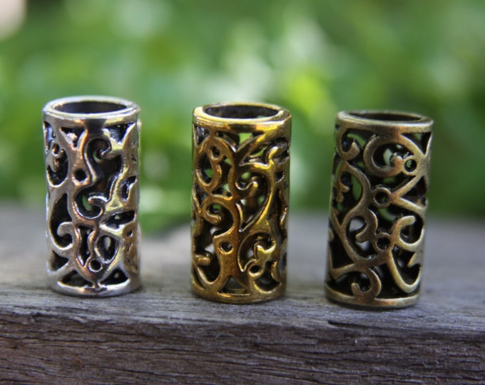 Mix of 6 Large Hole Tibetan Style Antique Bronze/Golden/Silver Dreadlock Beads 8mm Hole (5/16 Inch) Dread Hair Beads