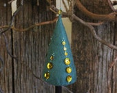 Christmas Tree - hand embroidered green Felt, with gold bead bead, light green details and gold sequins