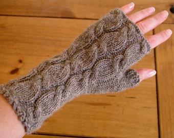 Alpaca fingerless gloves / wrist warmers hand knitted