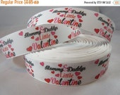 """Valentine's Day Heart Ribbon / Valentine's Day Gift Wrap Ribbon/ 1"""" Grosgrain Ribbon by the yard/ RN14673"""