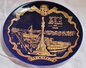 Vintage Barcelona Spain 1992 Summer Olympics Plate - Collectibles - Blue and Gold - Souvenir - Home Decor - Wall Decor - Sports Event