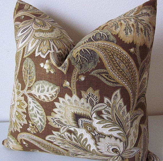 Jacobean Decorative Pillows : Jacobean Paisley Designer Pillow Cover Brown Floral Decorative