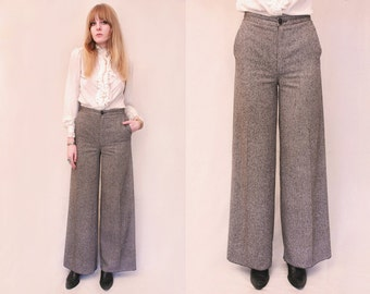 Vtg 70s Grey Donegal Tweed Wool High Waist Bell Bottom Trousers S/M