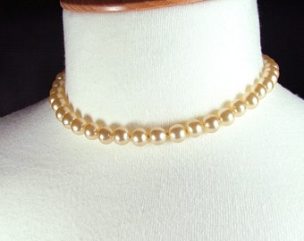 "13.5"" Vintage Re-Strung Knotted Faux Pearl Choker Necklace"