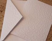 Modern flower card SINGLE, embossed flower card greeting card, or note card, blank inside