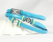 Turquoise leather wrap bracelet, Aztec charms, Southwest design, Magnetic clasp, CarolMade L65