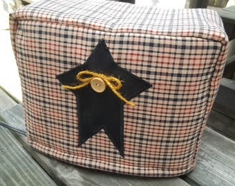 Star Toaster Cover Black Burgundy Tan Homespun Primitive Rustic Quilted CHoose Size