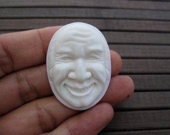Hand Carved Smilling Old man Face Bone Cabochon , Cameo , Jewelry making Supplies B4200
