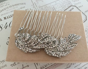 Feather hair comb ,  Bridal hair comb,  Vintage headpiece ,  1920s dress , Headpiece Great Gatsby