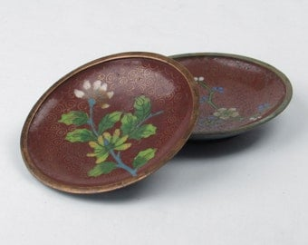 Pair of Cloisonne Enameled Ring Dishes - Tray- Plate - Bowl - Asian Floral Design Motif - Retro Mid Century Home Decor