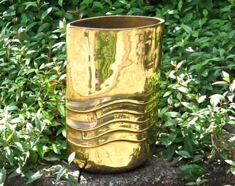 Art Deco Brass Artisan Vase by Dolbi Cashier Korea, 1980's