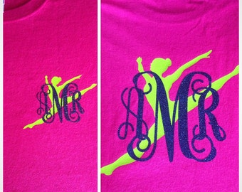 Personalized Dancer Tee shirt with Glitter Monogram