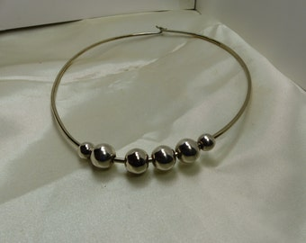 Silver Beads on Neckwire necklace- 1669